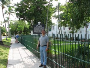 Man Standing Outside the Truman Little White House in Key West