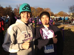 Two PurpleStride Participants Giving Thumbs Up