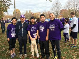 Isidore Rigoutsos with Group of Jefferson Runners at PurpleStride
