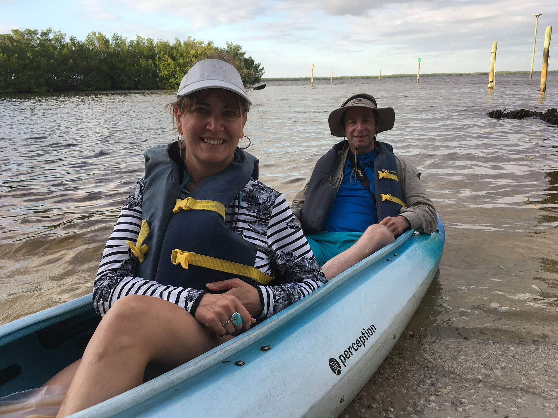Alexandra and Bennett in the kayak to Sanibel, FL